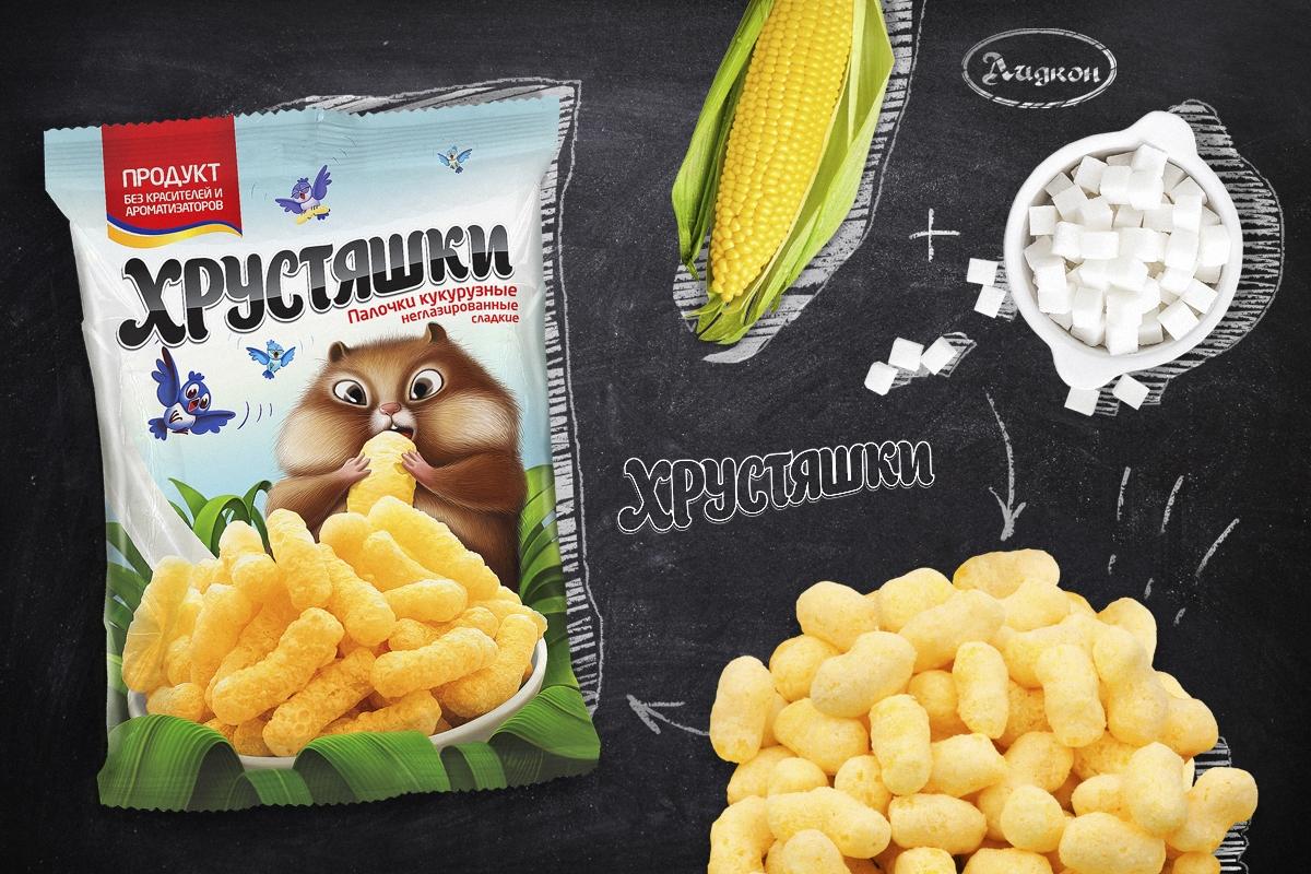 """Комплексная разработка ТМ """"Хрустяшки"""", дизайн упаковки"""